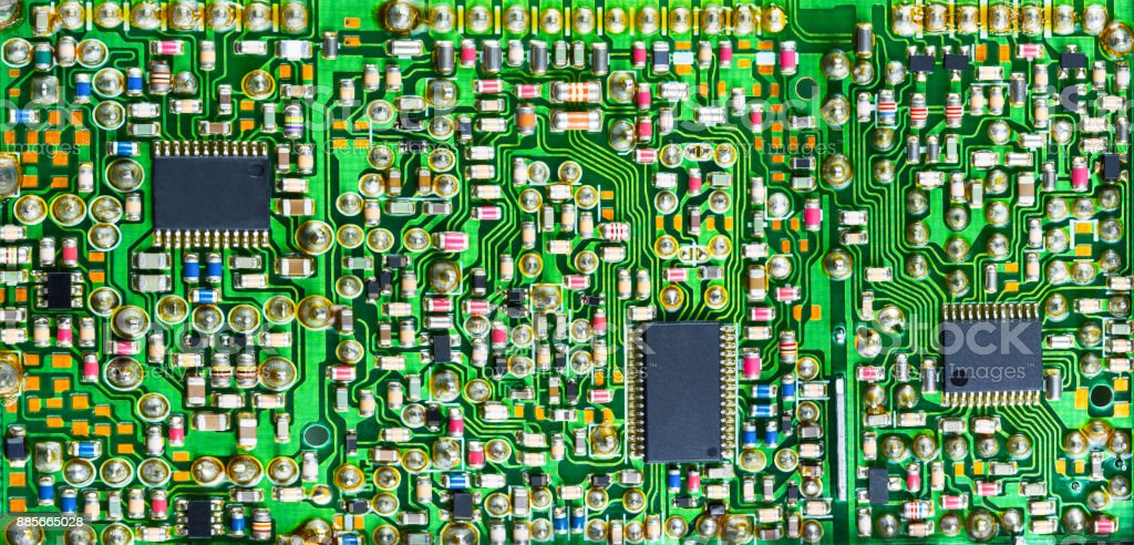 impressive printed circuit board with many electronic parts stock rh istockphoto com Circuit Board Illustration Circuit Board Illustration