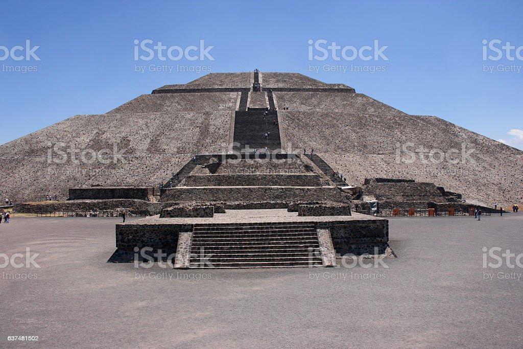 Impressive Pyramid of the Sun, Teotihuacan, Mexico stock photo
