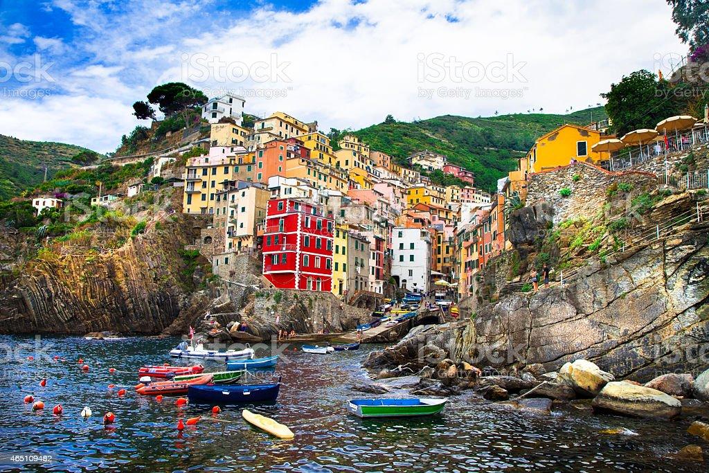 Impressive Riomaggiore, Italy stock photo