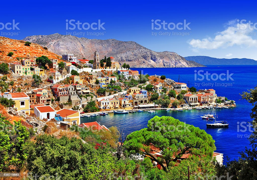 Impressive Symi, Greece stock photo