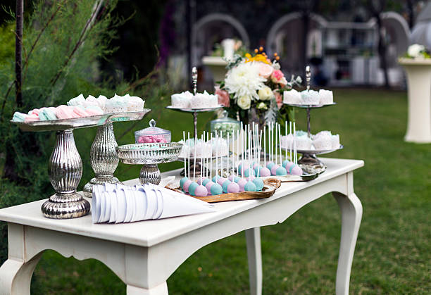 impressive wedding table set up stock photo
