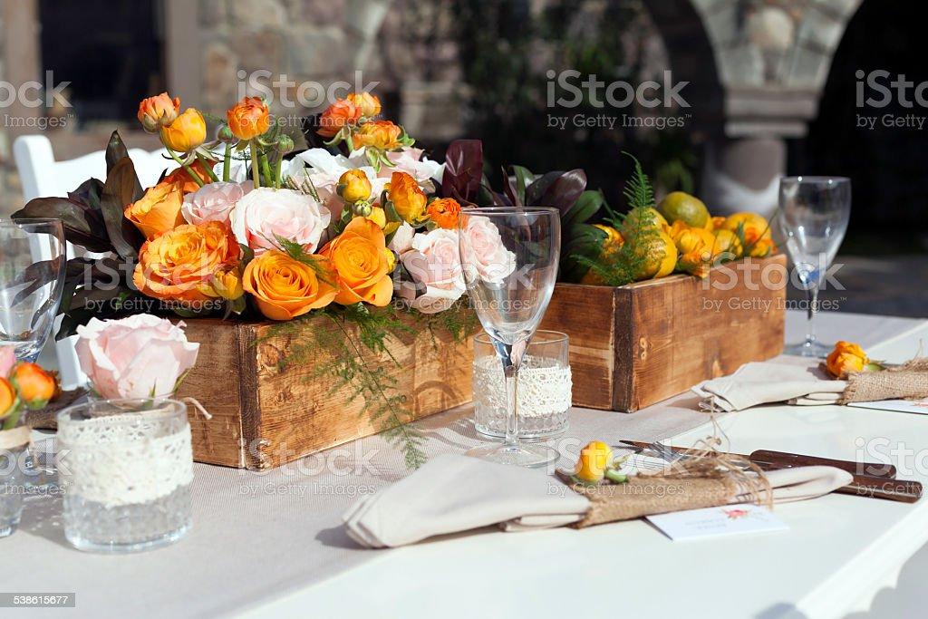 Impressive wedding table setup stock photo