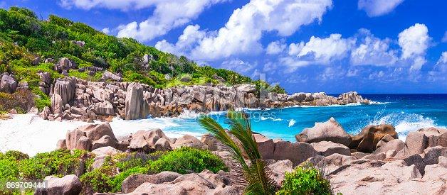 beautiful wild rocky beaches of Seychelles islands