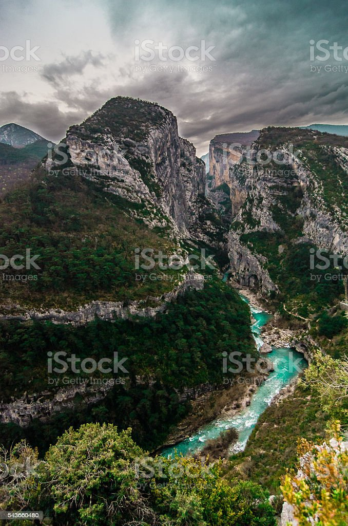 Impressives Verdon Canyon, France, view from above stock photo