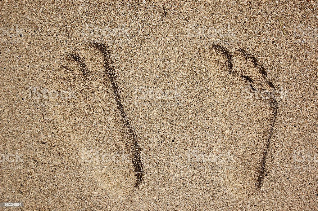 Stampe di piede nudo foto stock royalty-free