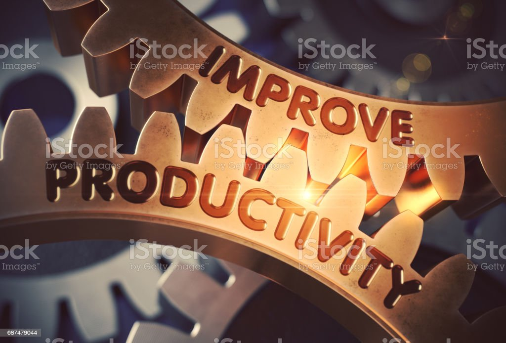 Improve Productivity on the Golden Gears. 3D Illustration stock photo
