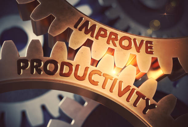 improve productivity on the golden gears. 3d illustration - efficiency stock photos and pictures