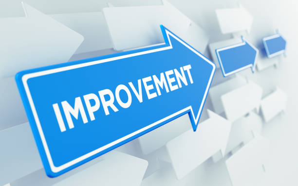 Improvement Text On Blue Directional Sign Blue arrow shaped directional sign over white arrows. Improvement writes on the directional sign. Planning and strategy concept. Horizontal composition with copy space. improvement stock pictures, royalty-free photos & images