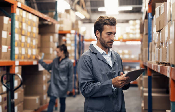 Improving efficiency with a well organised inventory stock photo