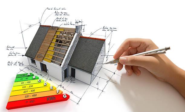 improving energy efficiency - efficacité énergétique photos et images de collection