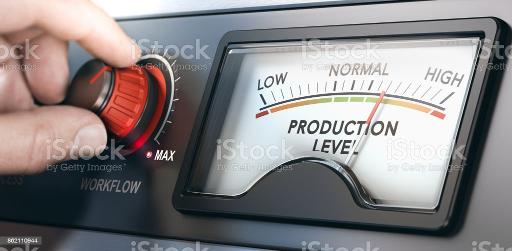 Improving Workflow to Manage Production Level stock photo