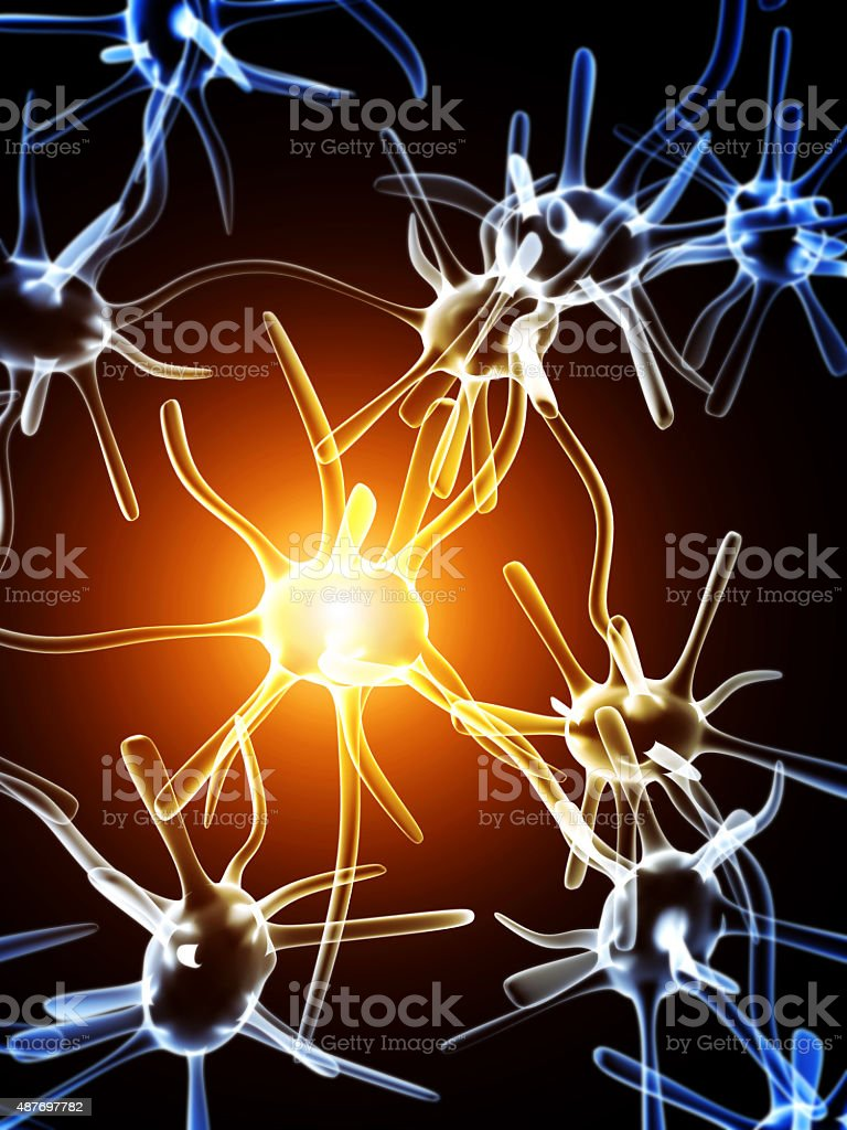 Impulses of neurons stock photo