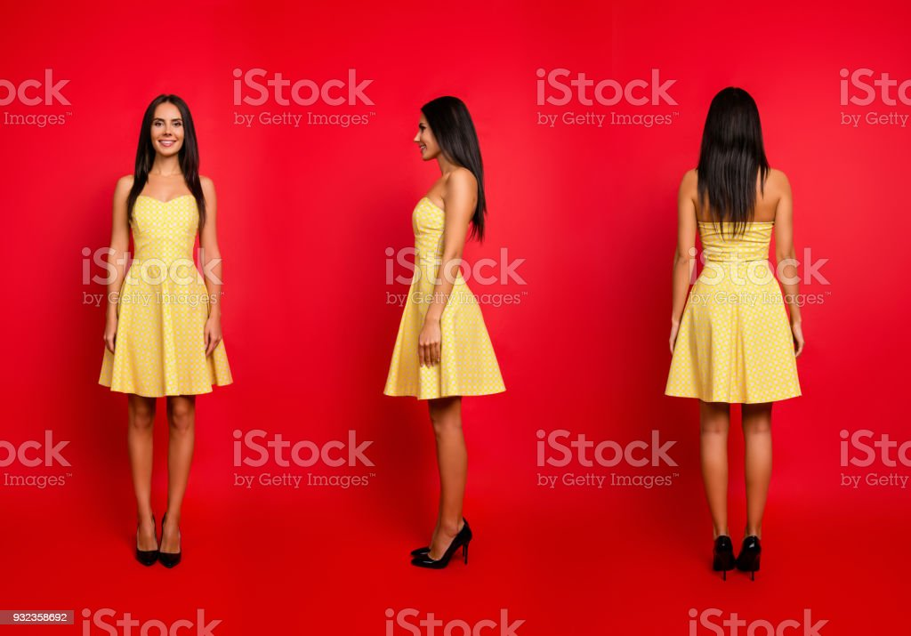 3 in 1 collage. Vertical full-size full-length all sides portrait of sweet charming beautiful attractive wearing short yellow dress isolated on red background stock photo