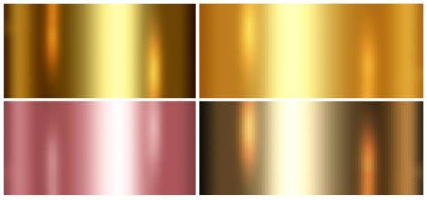 4 in 1 gouden folie textuur achtergrond of goud metallic textuur blad. - slechte staat stockfoto's en -beelden