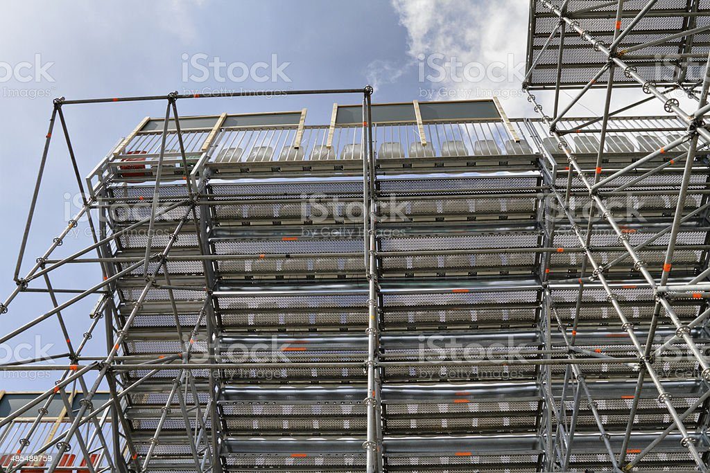 Exterior view of scaffolding temporary stand for Davis Cup tennis stock photo