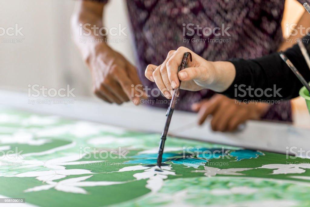 In a batik workshop stock photo