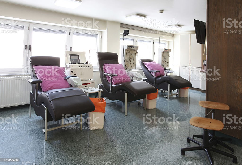 In a blood bank...chairs for blood donation stock photo