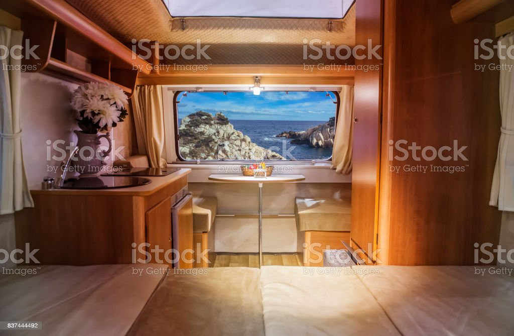 In a caravan In a caravan Armchair Stock Photo