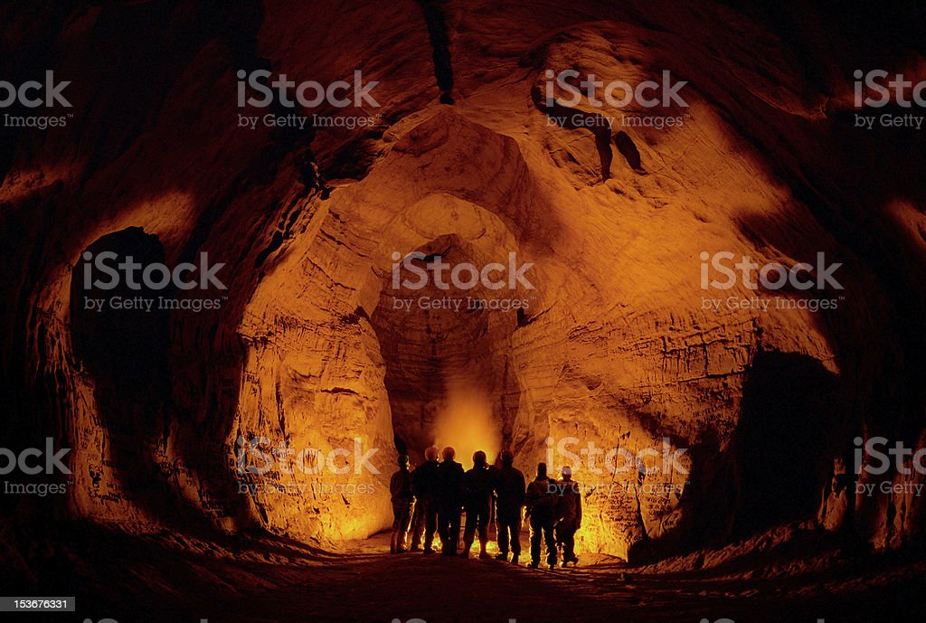 In a cave. stock photo