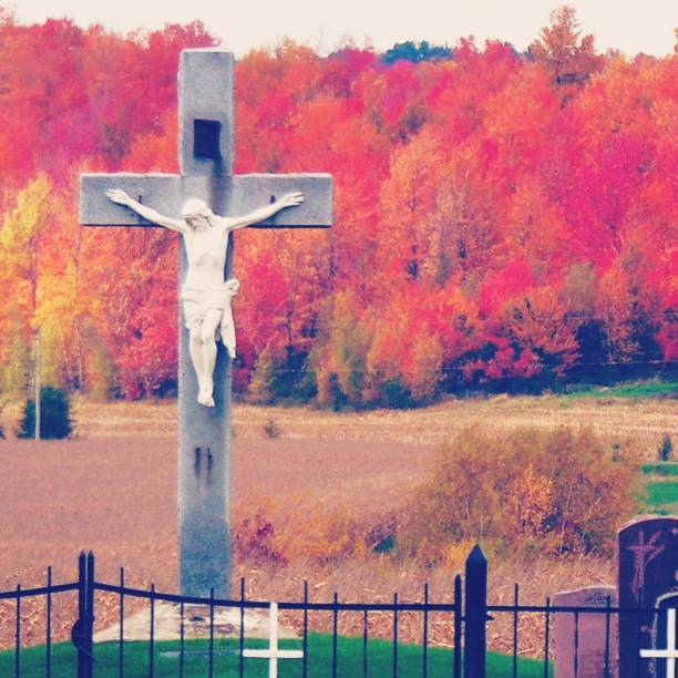 In a cemetery a cross. stock photo