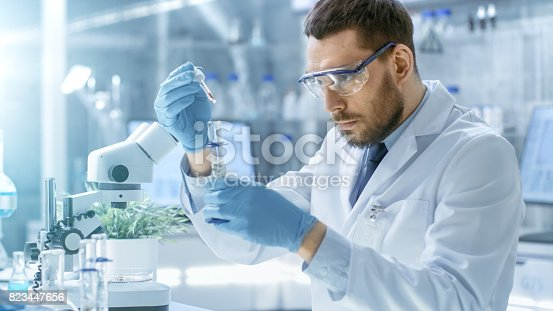 istock In a Modern Laboratory Scientist Conducts Experiments by Synthesising Compounds with use of Dropper and Plant in a Test Tube. 823447656