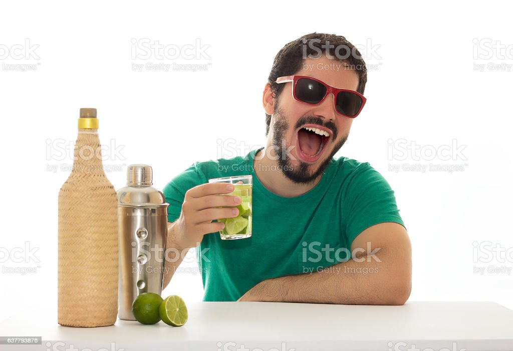 In a moment of relaxation the man laughs out loud. stock photo