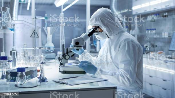 In A Secure High Level Research Laboratory Scientist In A Coverall Examines Petri Dish Under Microscope Stock Photo - Download Image Now