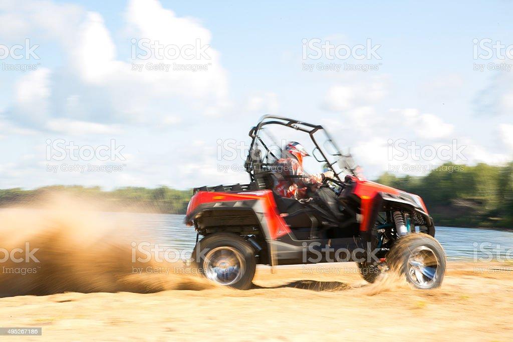 ATV in action stock photo