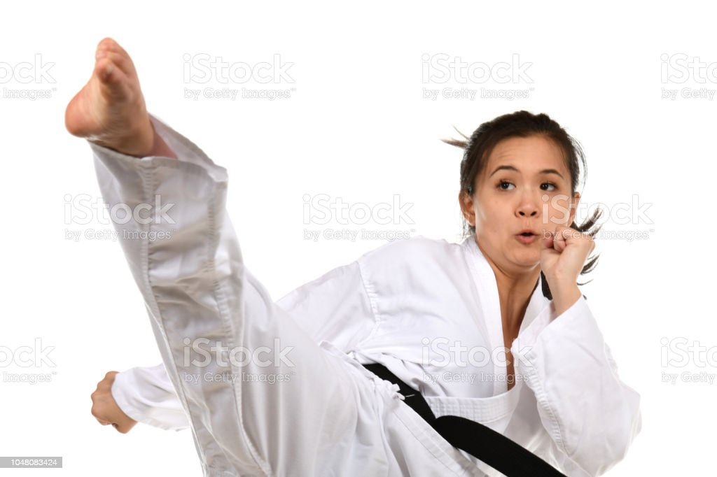 In Action Roundhouse Kick stock photo