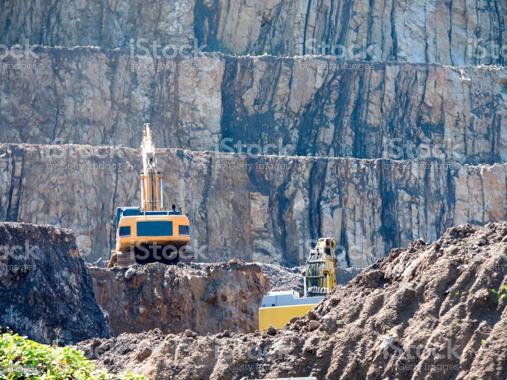 In an open-pit rock aggregate stock photo
