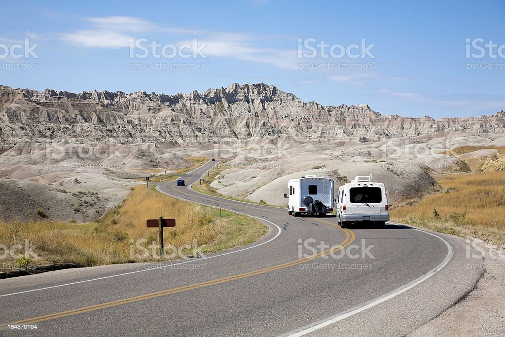 RV in Badlands National Park royalty-free stock photo