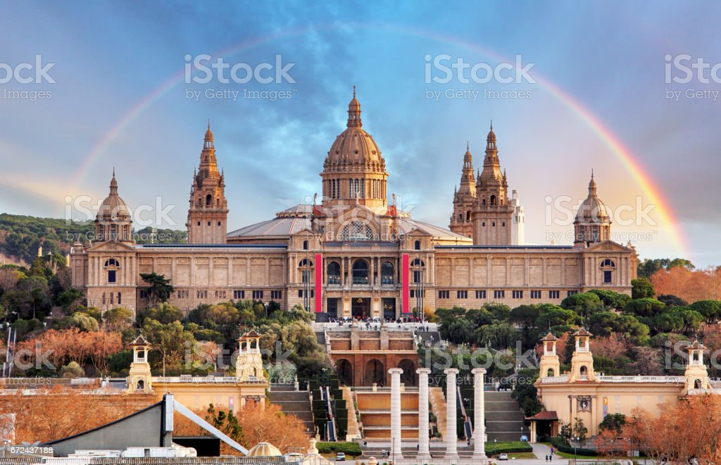 MNAC in Barcelona with rainbow stock photo
