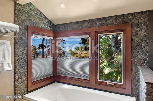 WINDOW TREATMENTS AND BLINDS in bathroom by bathtub with ocean view