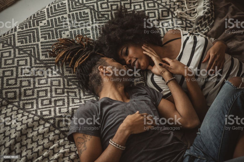 In bed and in love stock photo