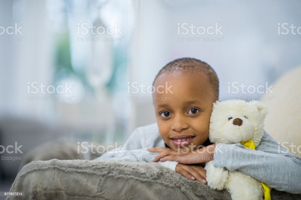 In Bed With Teddy stock photo