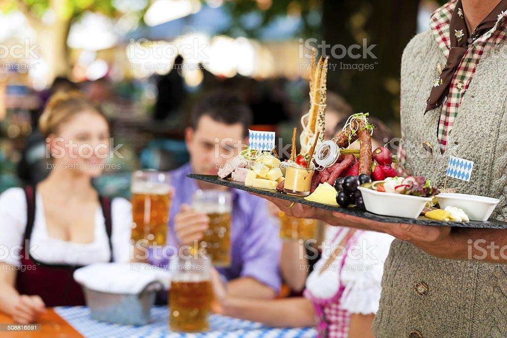 In Beer garden - snacks and drinks stock photo