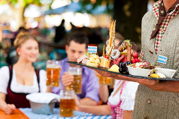 In Beer garden - snacks and drinks stock photo