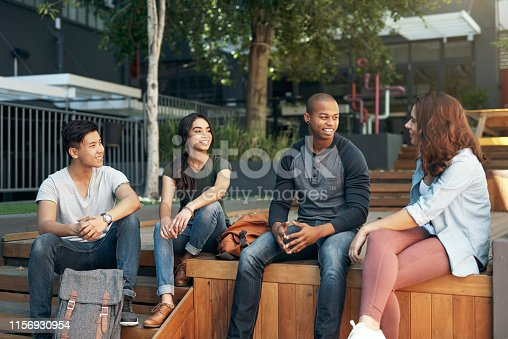 Shot of a group of young men and women hanging out together on campus
