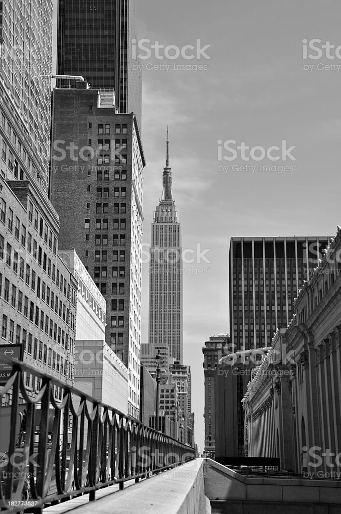 NYC in Black & White - Empire State Bldg perspective stock photo