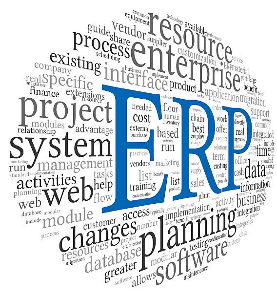 ERP in blue in a black and white word cloud stock photo
