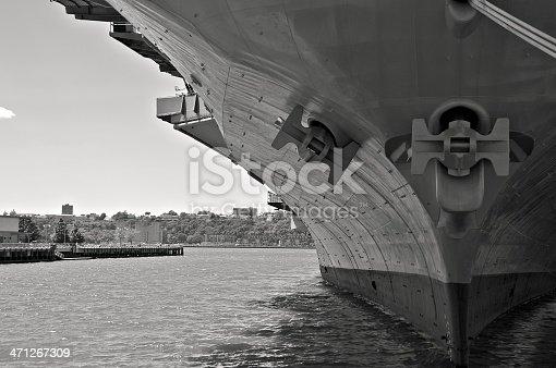istock NYC in B&W - U.S.S. Intrepid bow closeup 471267309