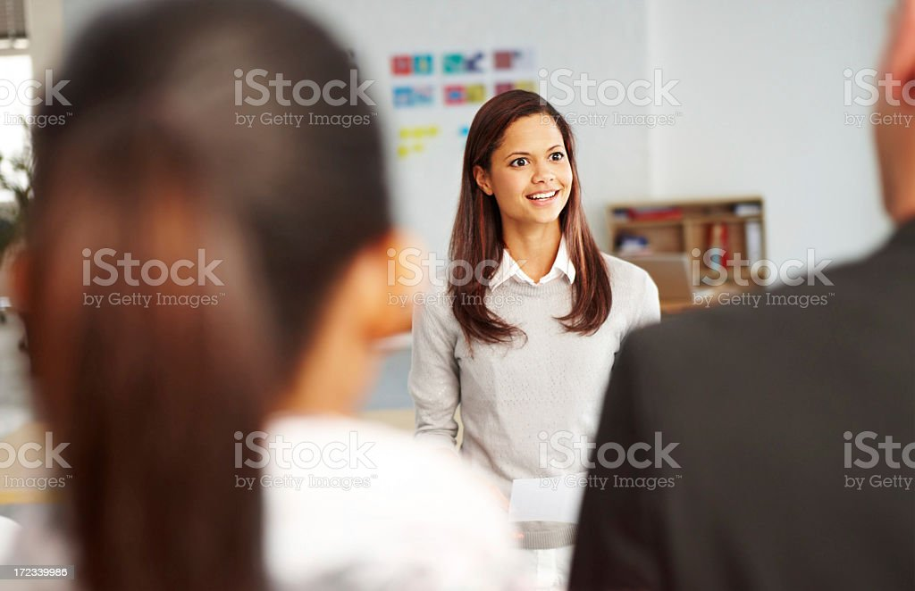 In charge of the morning brief royalty-free stock photo