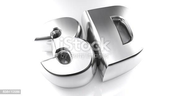 istock 3D in chromed letters - 3D rendering 838410586