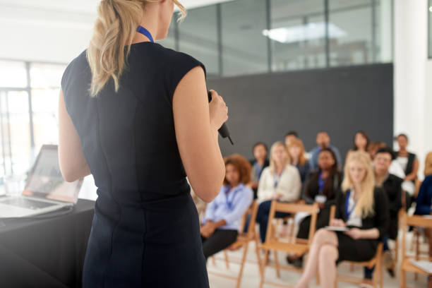 In control of this conference stock photo