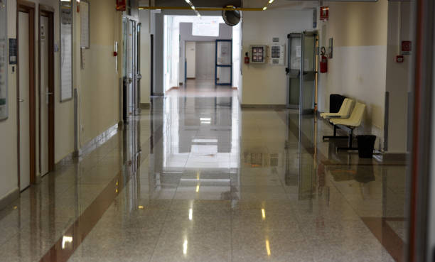 in corridors and waiting rooms of hospitals