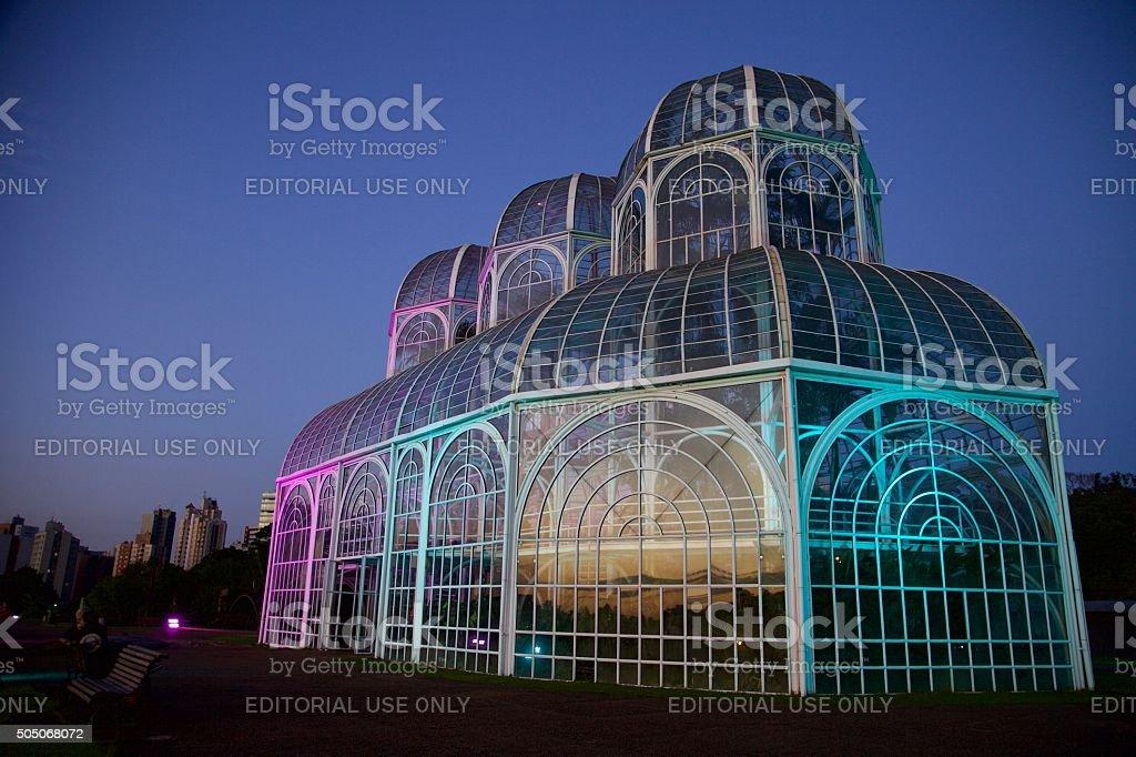 In Curitiba, greenhouse botanical garden in the evening . stock photo