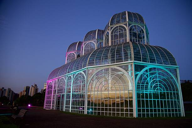 in curitiba, greenhouse botanical garden in the evening . - curitiba stock photos and pictures
