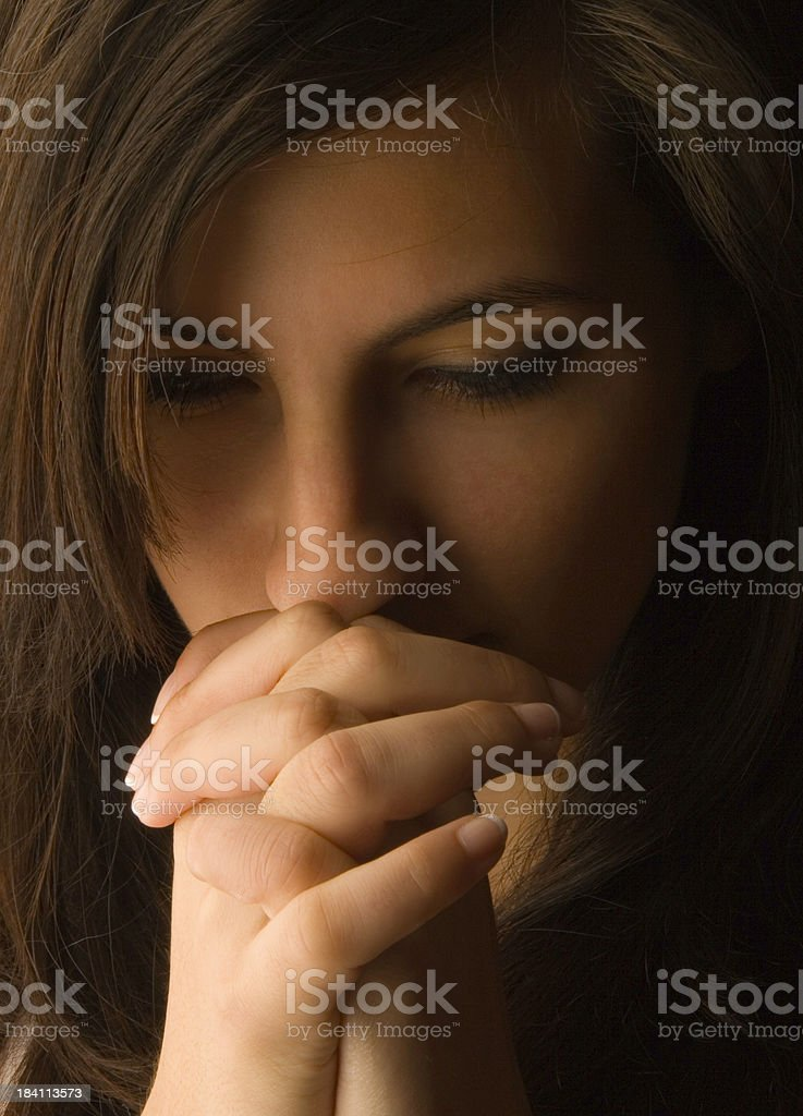 In deep prayer royalty-free stock photo