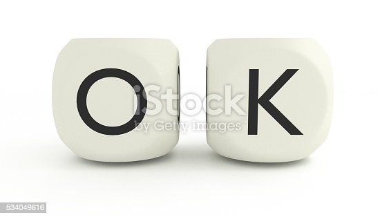 3D render of OK in Dice, isolated on white background