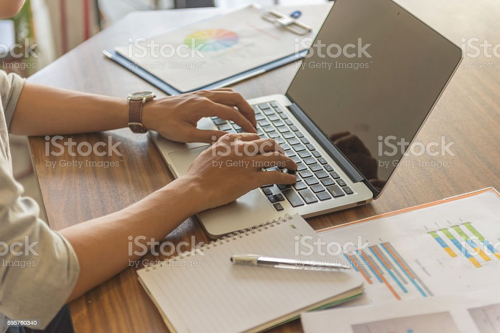 In era of technology, people usually typing instead of writing stock photo